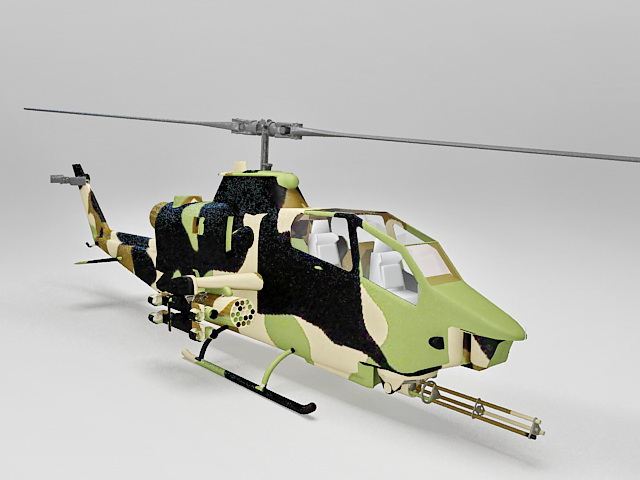 AH-1 Cobra attack helicopter 3d rendering