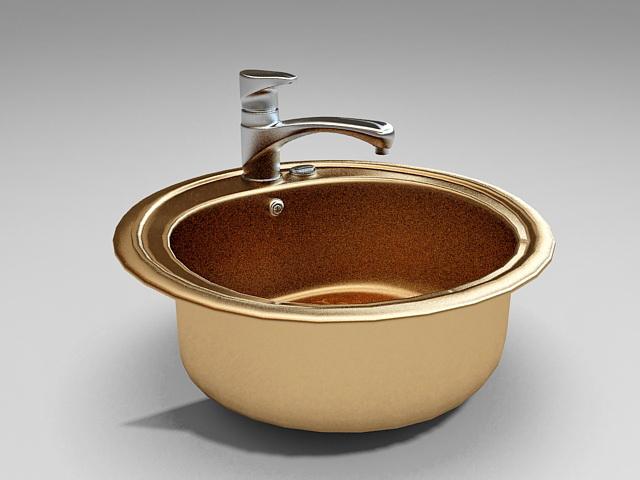 Round kitchen sink 3d rendering