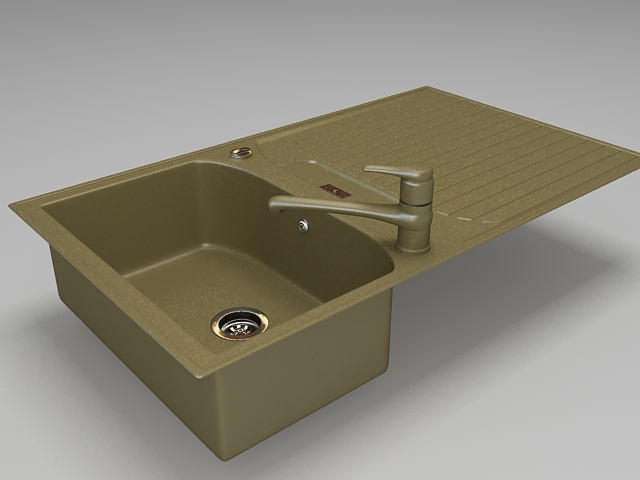 Kitchen sink with faucet 3d rendering