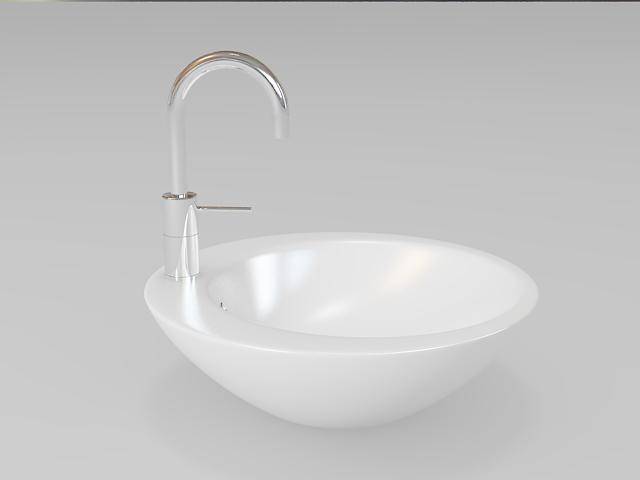 Round bathroom sink vessel 3d rendering