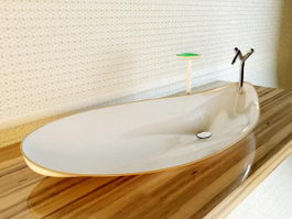 Bathroom sink and wood countertop 3d preview