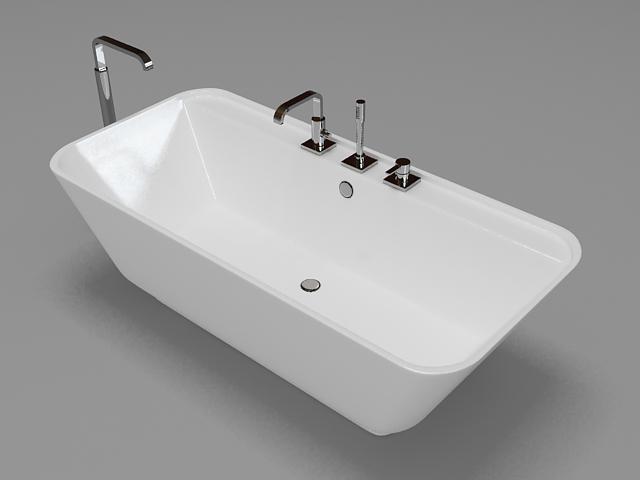 Free standing tub 3d rendering