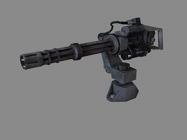 Minigun machine gun 3d rendering