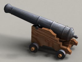 Tall ship cannon 3d model preview