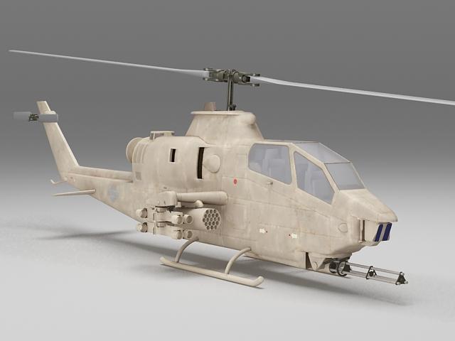 Cobra gunship helicopter 3d rendering