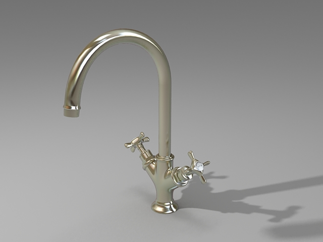 2-Handle basin mixer 3d rendering