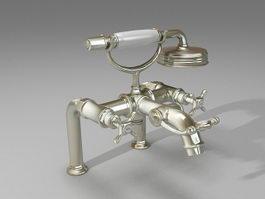 Rim-mounted bath mixer 3d preview