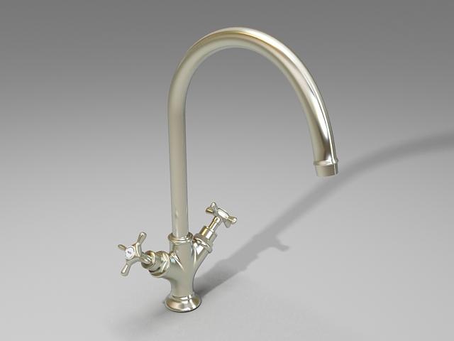 Kitchen sink mixer 3d rendering