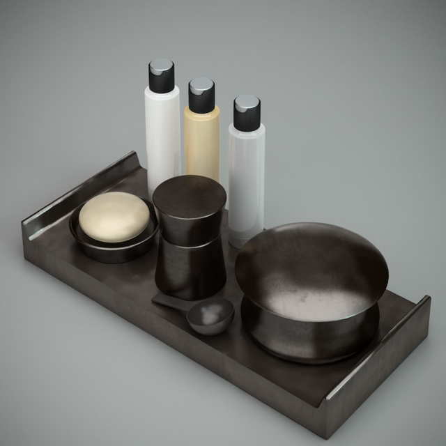 Black bathroom accessories sets 3d rendering