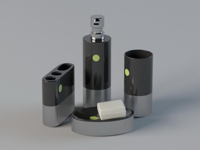 4 Piece Bathroom Accessory Set 3d rendering