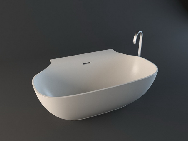 Freestanding tub with tap 3d rendering