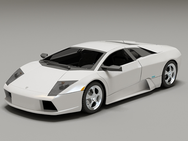 White Lamborghini Murcielago 3d rendering