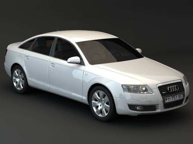 White Audi A6 sedan 3d rendering