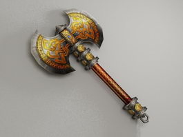 Fantasy battle axe low poly 3d model preview
