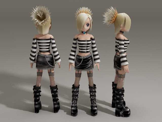 Blonde Anime Girl 3d model 3ds Max files free download