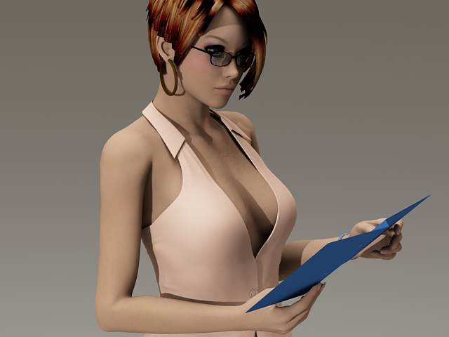 Sexy secretary 3d rendering