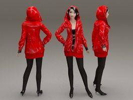 Girl with red coat 3d model preview