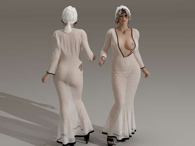 Young Woman Fresh From Shower 3d rendering