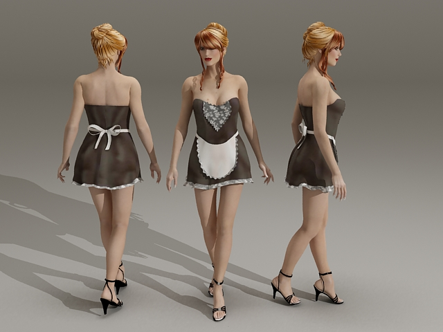 Sexy Blonde Maid 3d rendering