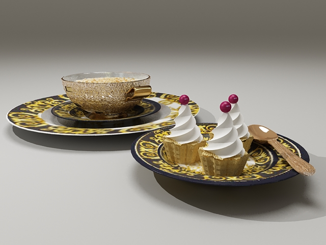 Gelato and coffee 3d rendering