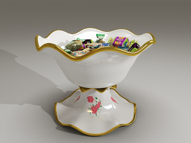 Candy dishes bowl 3d rendering