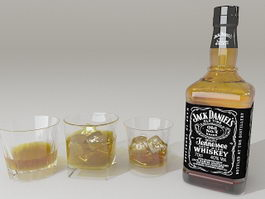 Jack Daniels Whiskey Glass Bottle 3d preview