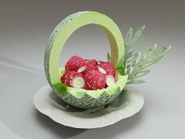 Carved melon fruit bowl 3d preview