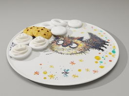 Plate of cookies 3d preview