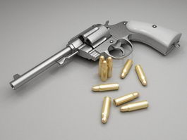 Revolver with bullets 3d preview