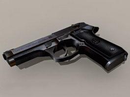 Beretta Pistol Low Poly 3d model preview