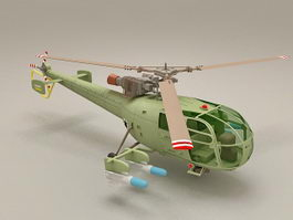 Alouette III Attack Helicopter 3d preview