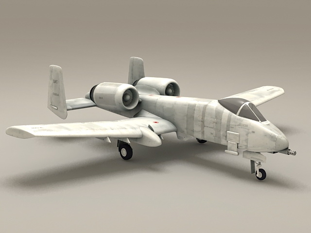 A-10 Thunderbolt Warthog Fighter Aircraft 3d rendering