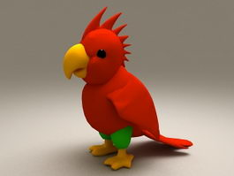 Red Parrot 3d preview
