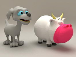 Hippo and Dog Cartoon 3d preview