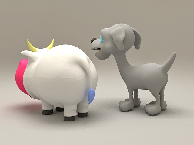 Hippo and Dog Cartoon 3d rendering