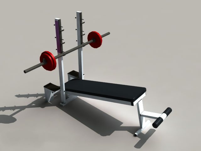 Weight Lifting Bench Equipment 3d rendering
