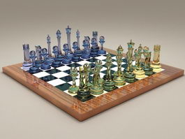 Glass Chess Set 3d preview
