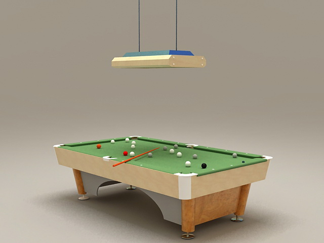 Billiard table and lights 3d rendering