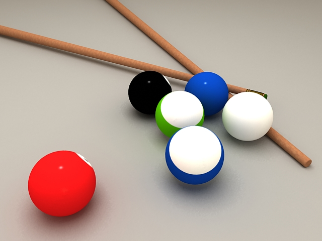 Billiard balls and cue 3d rendering