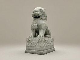 Stone Lion Statue 3d model preview