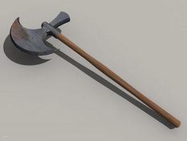 Long handled battle axe 3d model preview