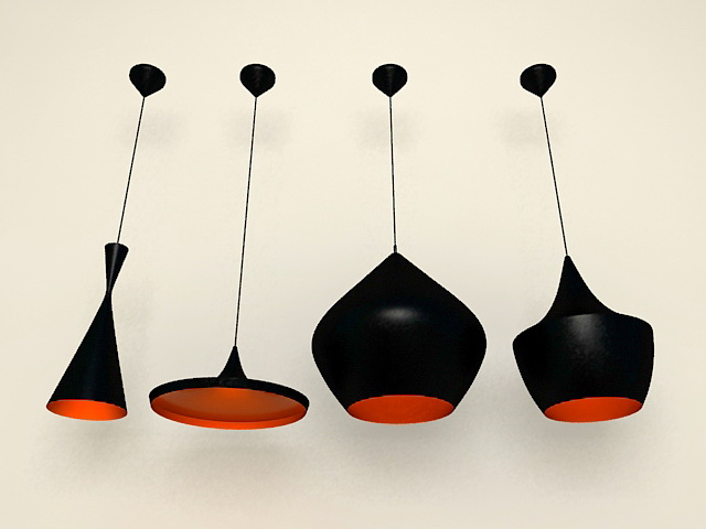 Modern black hanging lamps 3d rendering