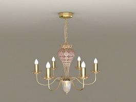 6-Arm Brass Chandelier 3d preview