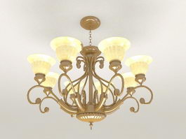 Vintage Brass Chandelier 3d preview