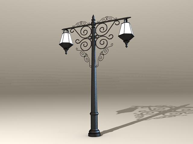 Old City Street Lights 3d rendering