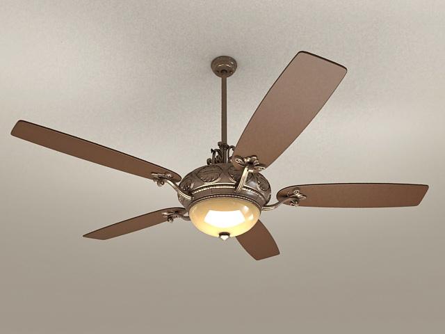 Vintage ceiling fan light 3d rendering