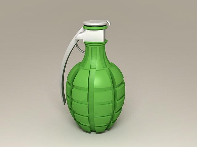 Green Hand Grenade 3d rendering