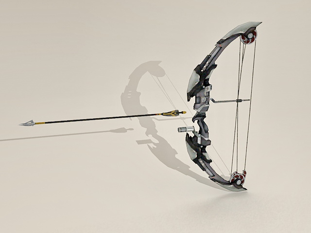 Futuristic Bow and Arrow 3d rendering