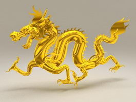 Golden Chinese Dragon 3d model preview