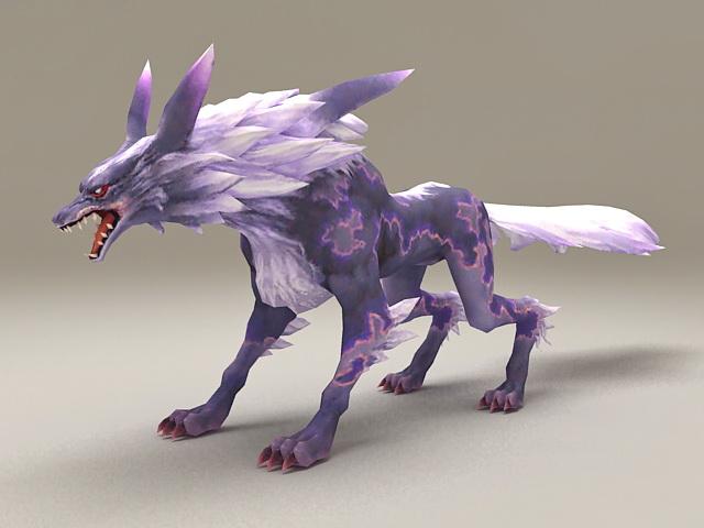Purple Spirit Wolf 3d rendering